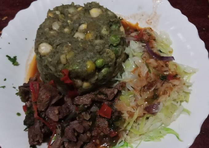Mukimo steamed cabbage beef