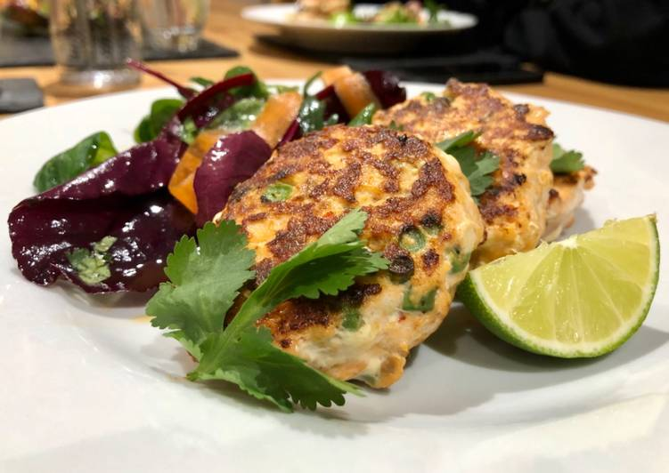 Thai Salmon fishcakes with Asian dressed salad Choosing Fast Food That's Good For You