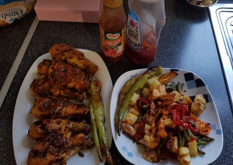 Recipe of Homemade Grilled Chicken drum sticks with vegetable #eid k pakwan
