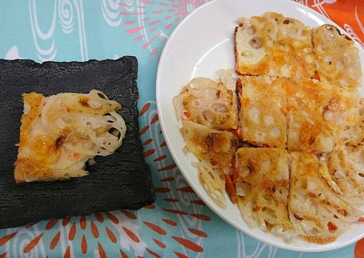 How to Prepare Perfect Crispy lutus root (renkon) pizza