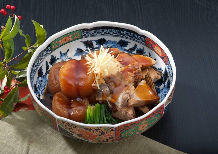 Easiest Way to Make Super Quick Homemade Japanese Yellowtail Simmered with Daikon Radish
