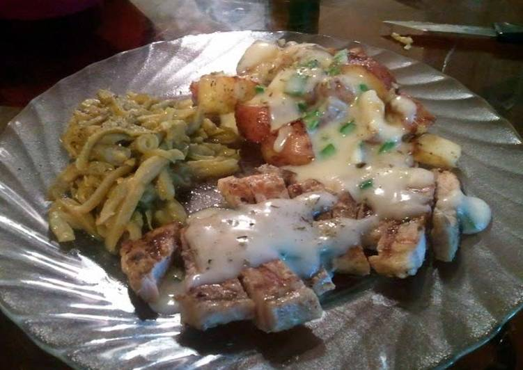 Recipe of Ultimate Sean's-Leek white gravy smothered pork chops w/ Roasted Red Potatoes