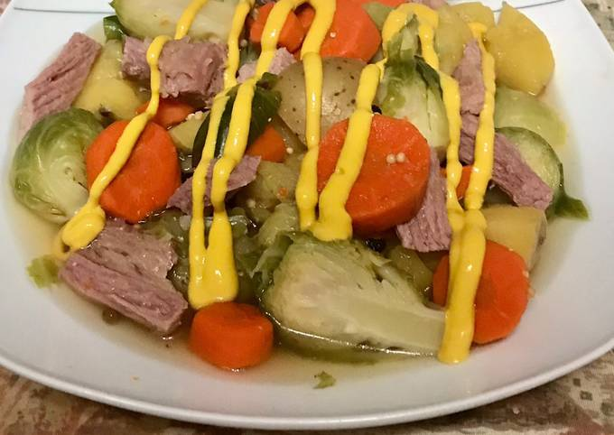 Corn beef and brussels sprouts