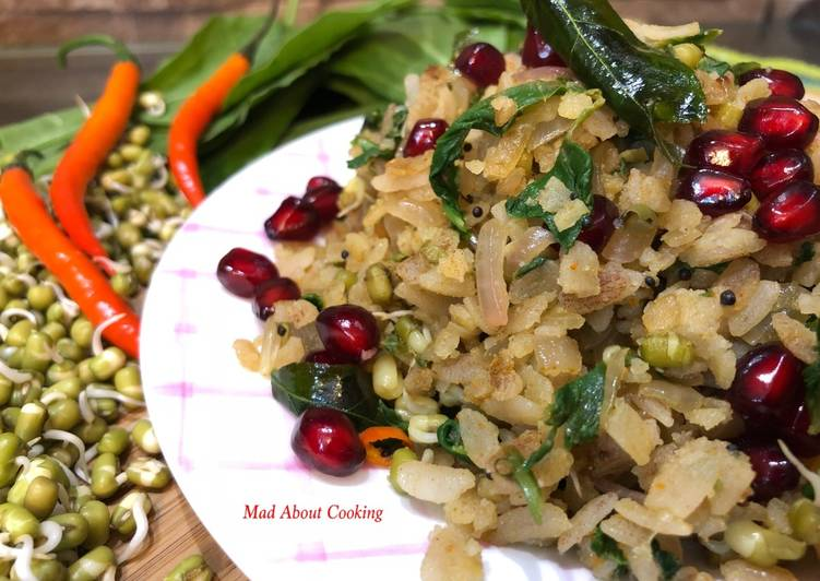 Spinach Sprouts Brown Poha – Iron Rich Breakfast