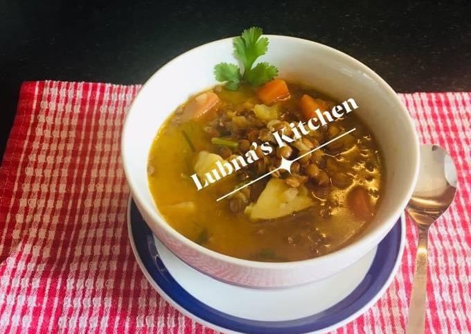 Puy lentil soup: