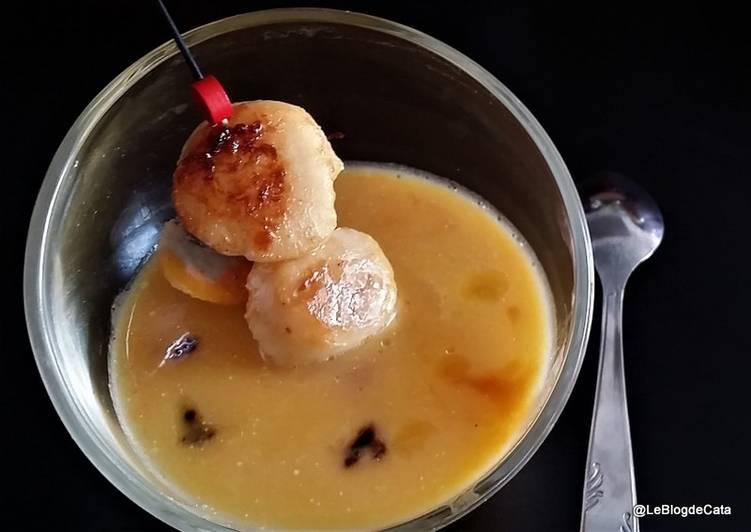 La Meilleur Recette De Verrines de noix de Saint-Jacques et crème de potiron