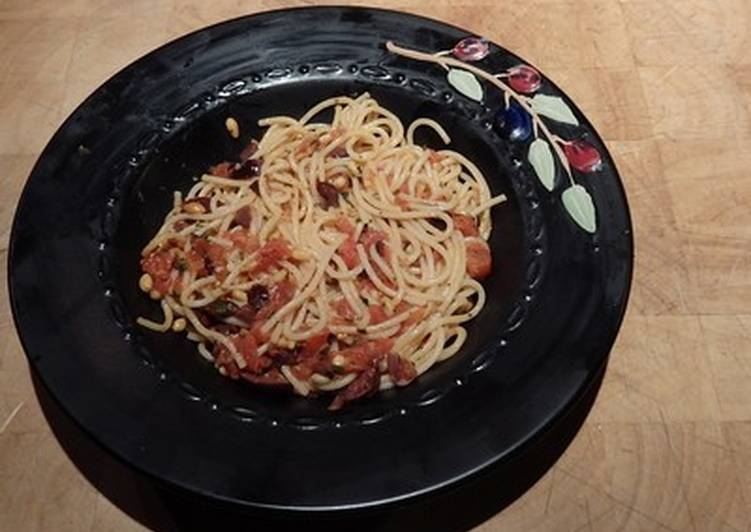 Recipe of Super Quick Homemade Pasta with Tomatoes, Kalamata Olives, and Goat Cheese