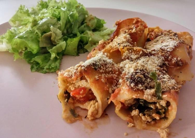 Cannellonis aux légumes et au tofu (vegan)