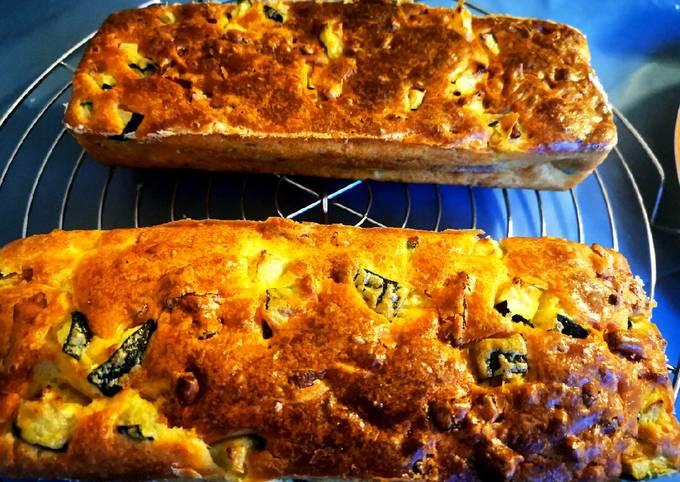 Cake lardons, courgettes
