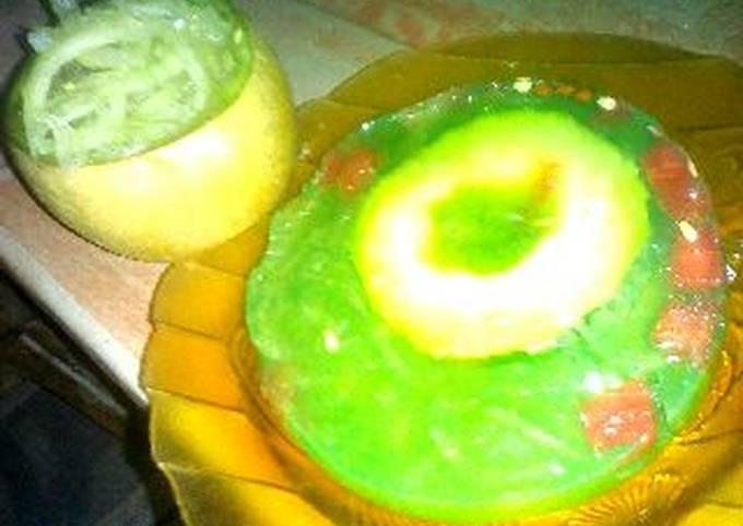 Agar agar serabut melon isi senpi (semangka pisang)