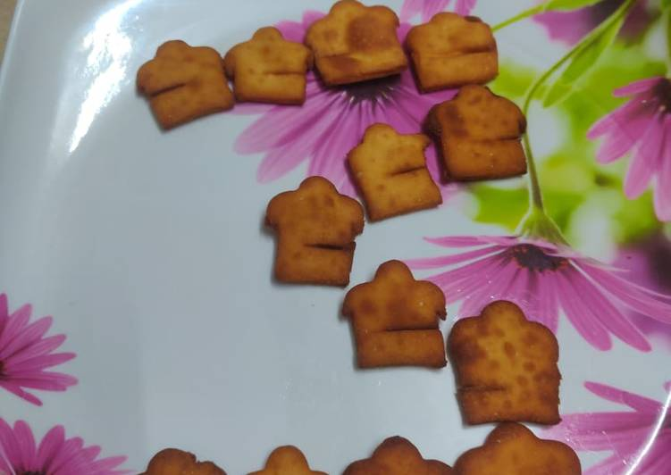 Cookpad Logo shaped Shakarpara / Sweet Nimki / Sweet Mathri