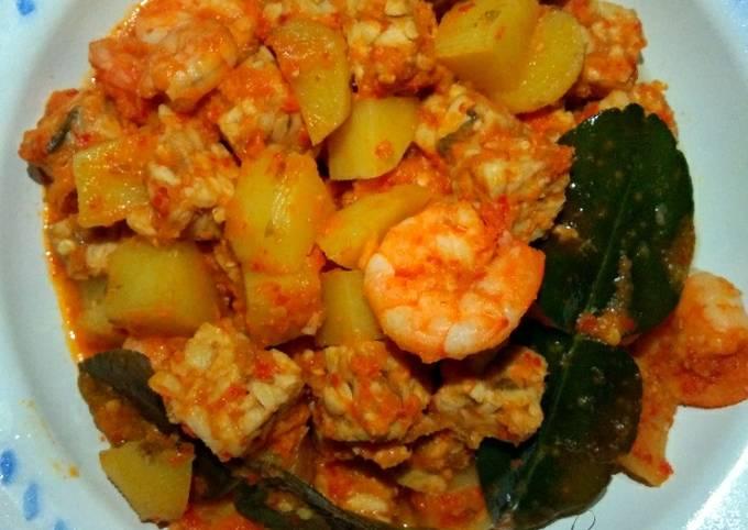 Balado kentang,udang+tempe