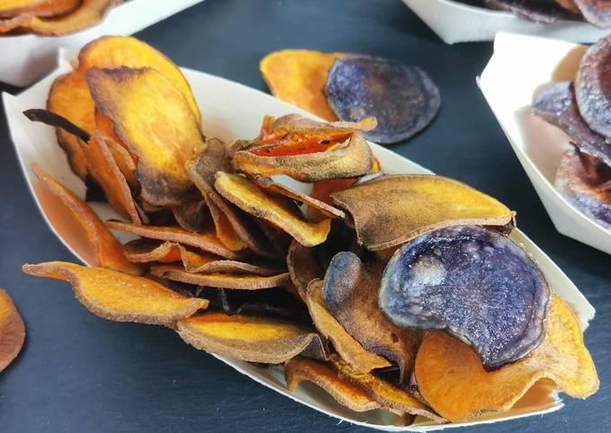 Chips de pommes de terre vitelotte et patate douce