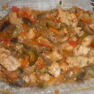 Relleno de tacos o fajitas con pollo