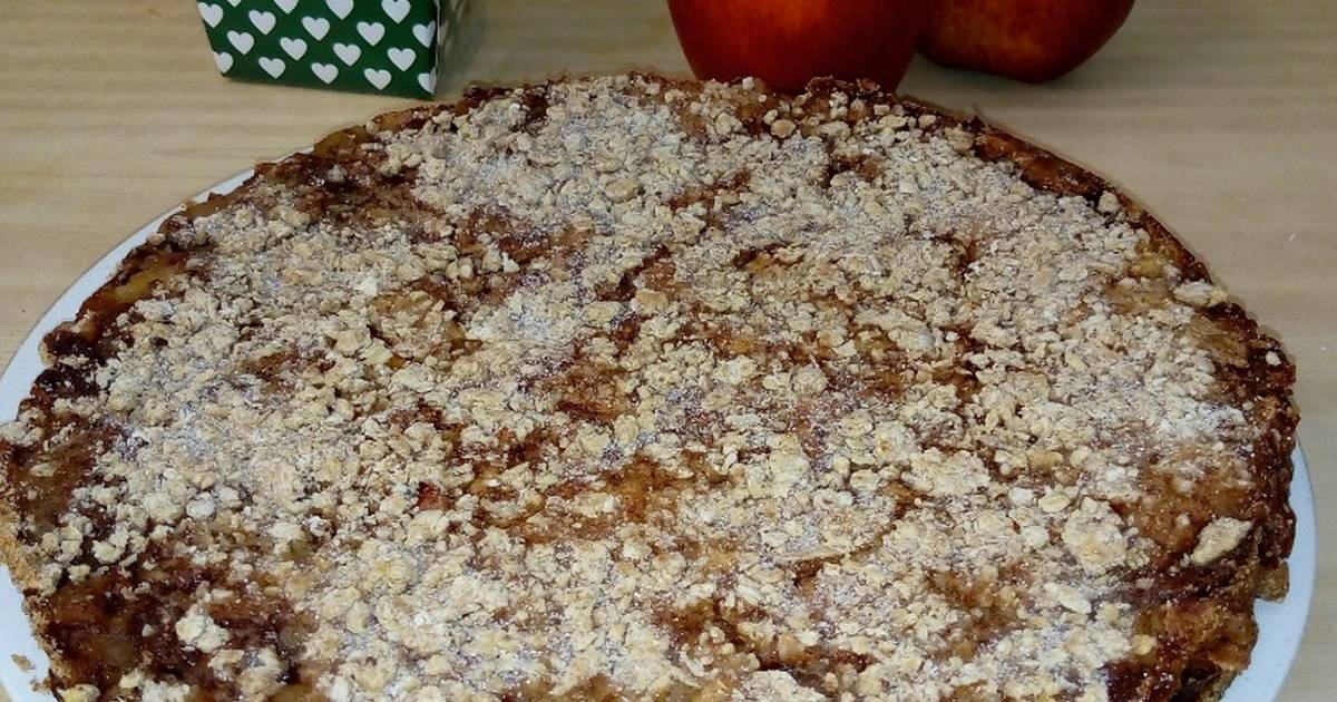Tarta De Manzana Con Base De Avena Harina Integral Y Maizena Receta De Daiana Nahir Martinez Cookpad