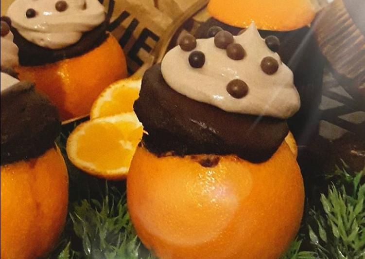 Comment Préparer Des ☆Muffins Intensément Choco Mandarines☆ où Quand le fruit sert de Cup🍊