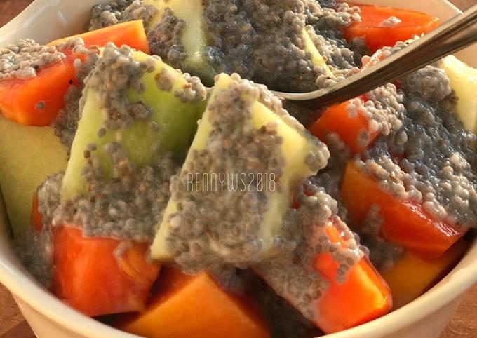 Pepaya melon with chia puding