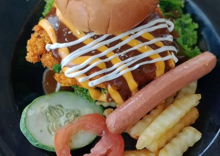 Burger chicken chop