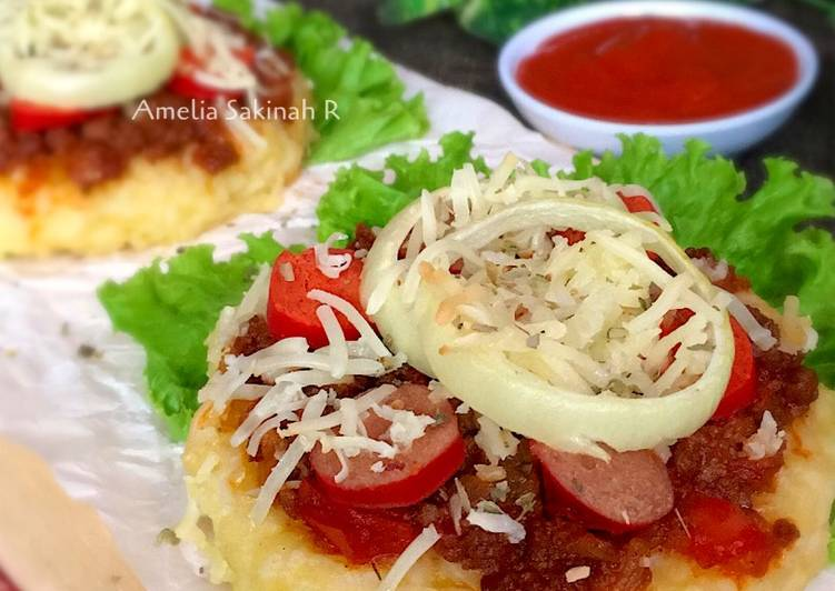 Mini Rice Pizza with Black Pepper Beef / Pizza Nasi Sisa