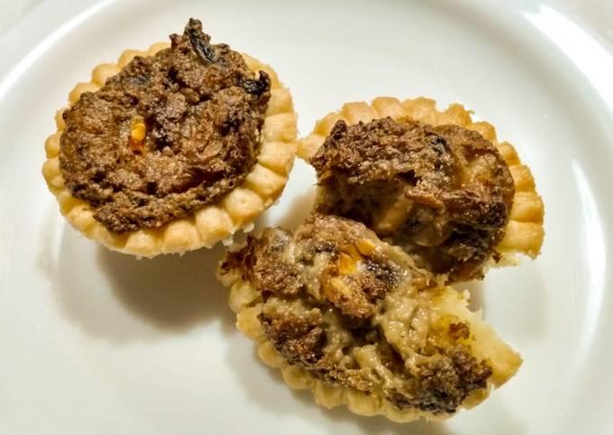 Mushroom and blue cheese tarts
