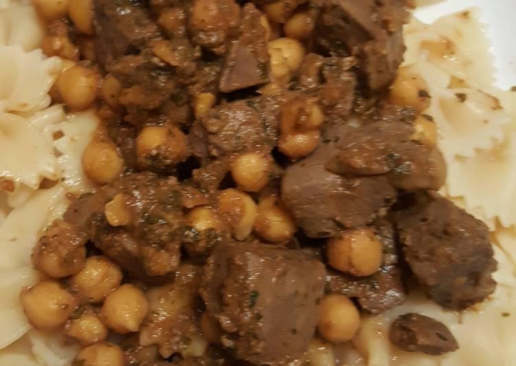 La Meilleur Recette De Pâtes au foie épicé et pois-chiches fait au Cookeo