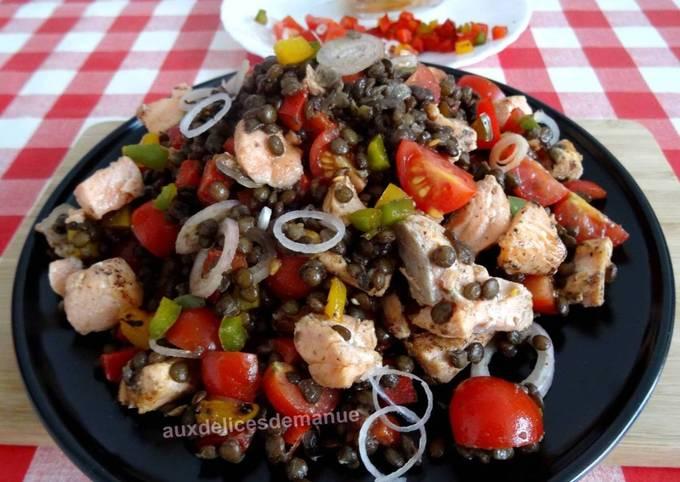 Contact Salade de lentilles et légumes au saumon