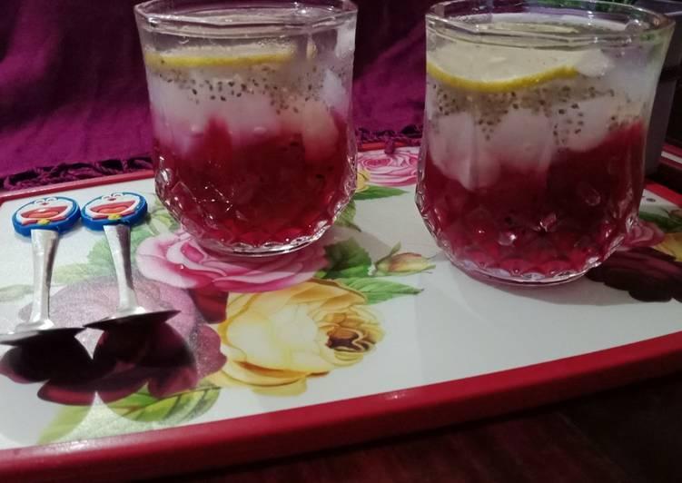 Es Jelly Buah Naga Biji Selasih