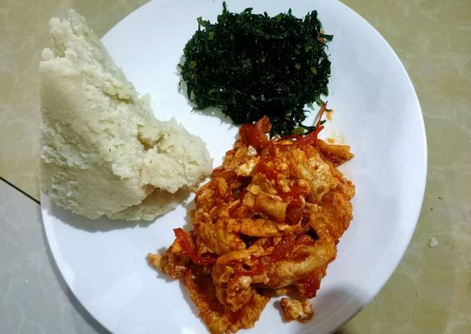 Ugali,fried sukuma (kales) and eggs