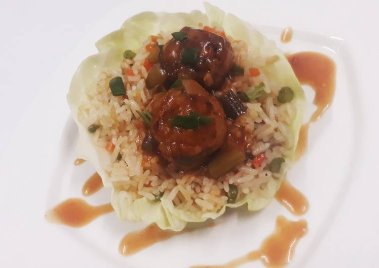 Fried rice with veg manchurian