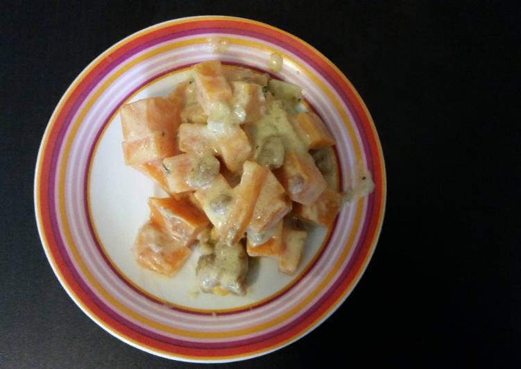 recette Poêlée de patates douces et marrons le délicieux