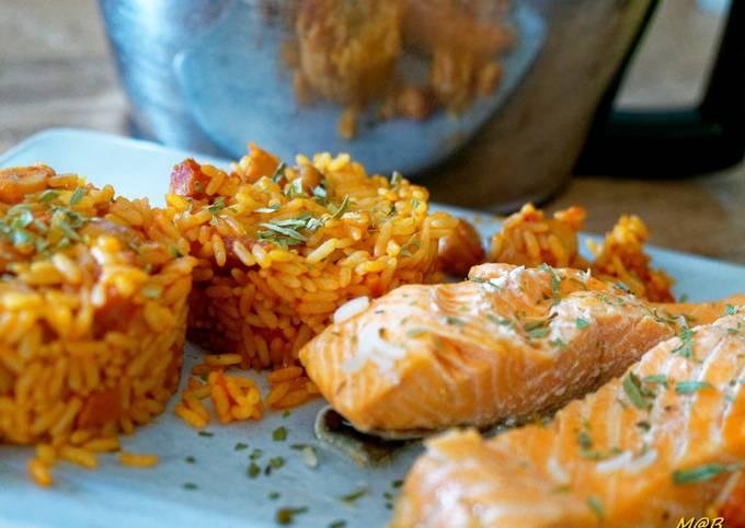 Pavés de saumon tomates riz et champignons au Cook Expert