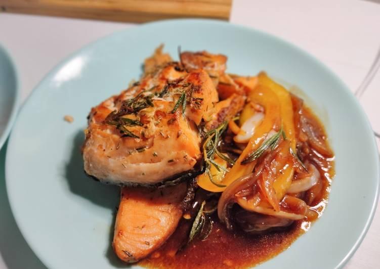 Pan-seared Salmon with Crispy Skin and Teriyaki Sauce