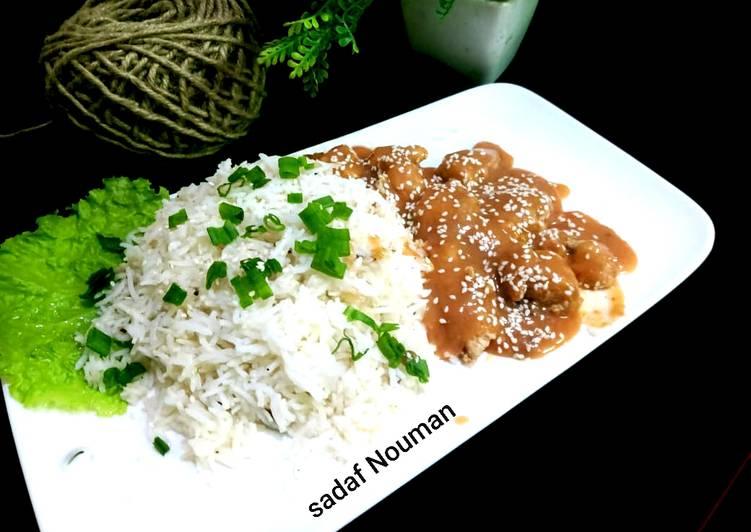 Sesame chicken with garlic rice