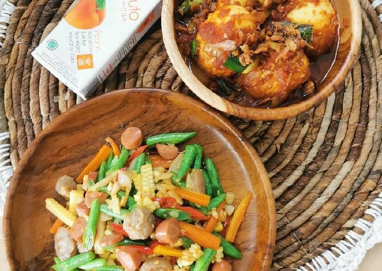 Tumis baby corn wortel buncis bakso dan sosis