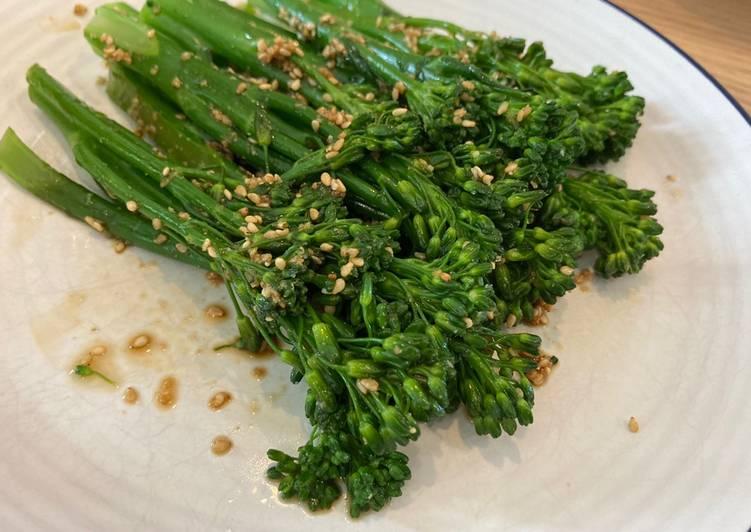 Broccolini Gomaae, side dish simple dan kilat banget!