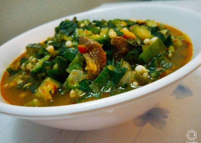 Okro and garden egg leaf soup