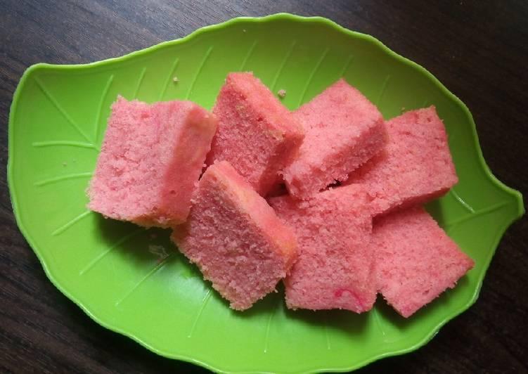 Bolu kukus Agar-agar jelly strawberry