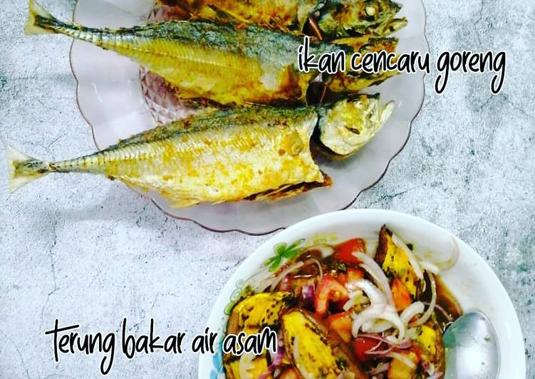 Ikan Cencaru Goreng & Terung Bakar Air Asam - resepipouler.com