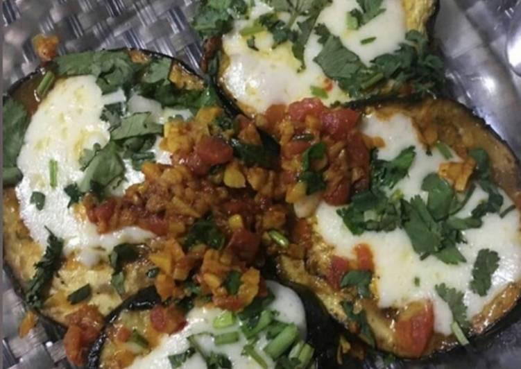 Pan fried cheesy eggplant