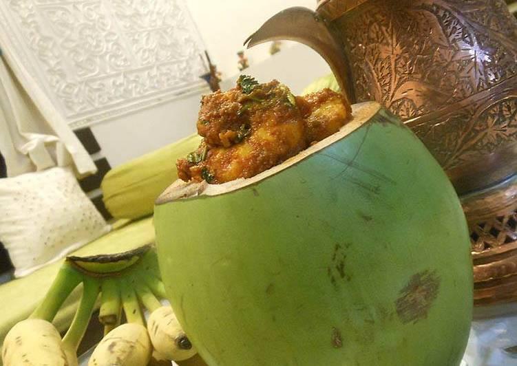 Masala Prawns stuffed in Fresh Tender Coconut