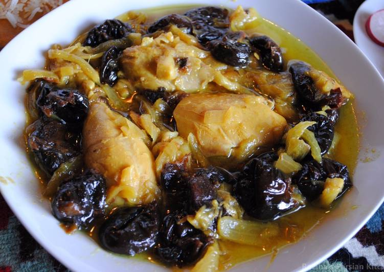 Persian prune stew with chicken