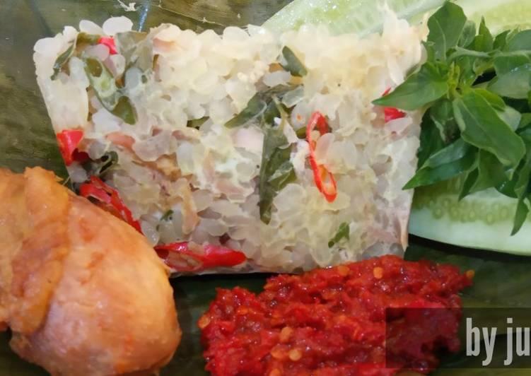 Bagaimana Menyiapkan Pepes nasi shirataki  Anti Gagal