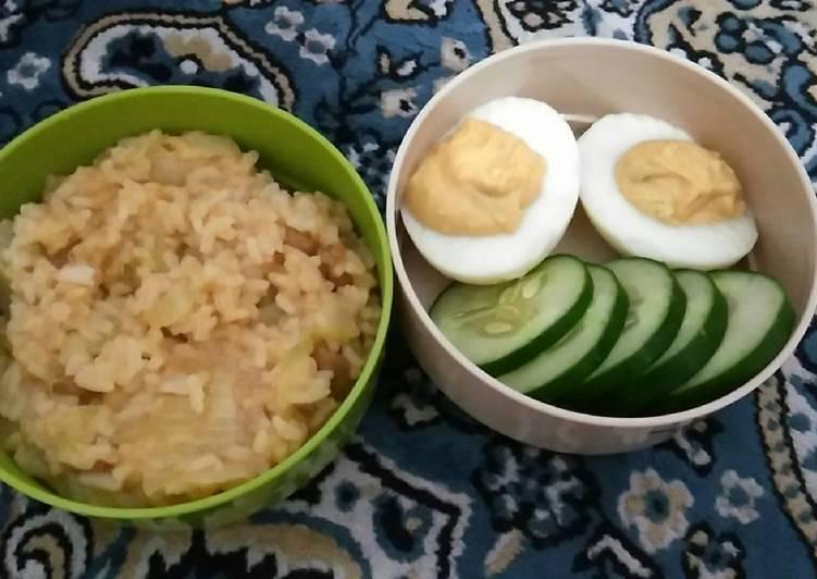 Cara Gampang Membuat Lunch kantor (baked beans tomato rice and devil eggs) 🍛😻, Bikin Ngiler