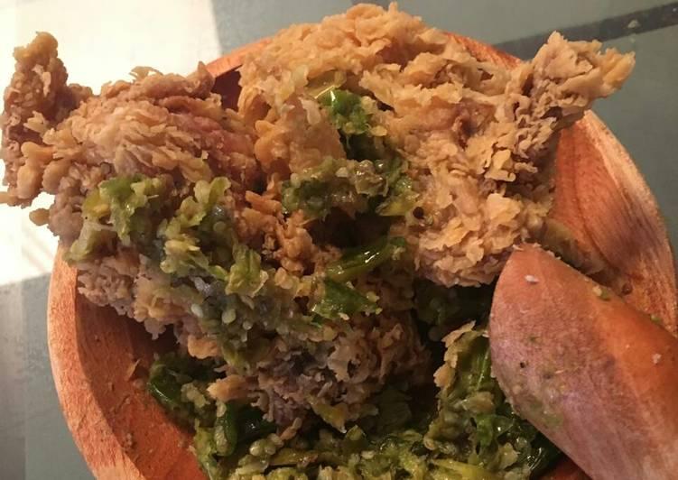 Ayam geprek krispy sambal cikur