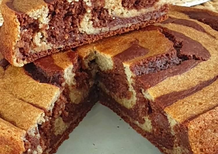 Gâteau au chocolat zébré sans matière grasse