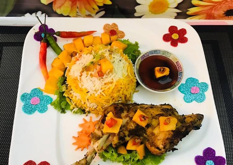Spicy mango 🥭 chicken 🐓with rice