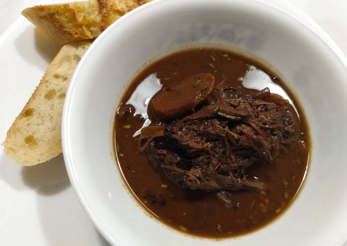 Brisket braised in red wine and chocolate