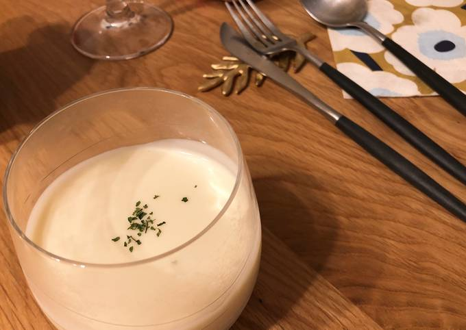 "French style ""Vichyssoise"" cold potato soup"