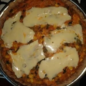 Tarta de verduras con masa integral (con semillas de chía)