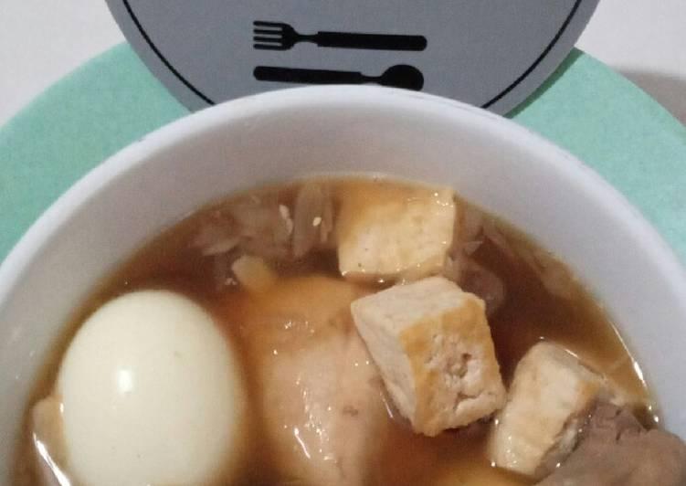 Telur, tahu dan Ayam Masak Kecap